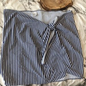 Lands End Striped Navy Swimsuit Cover Wrap Skirt